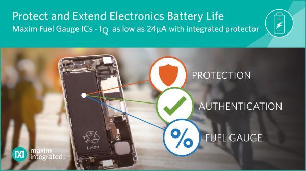 Maxim集成了最先進的電池保護器,可為業界最精確,最低靜態電流的電量計IC提供最高級別的安全性